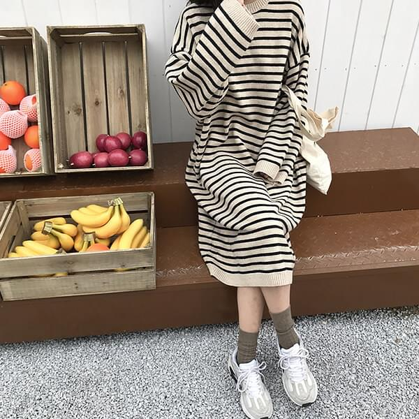 Striped knit long dress