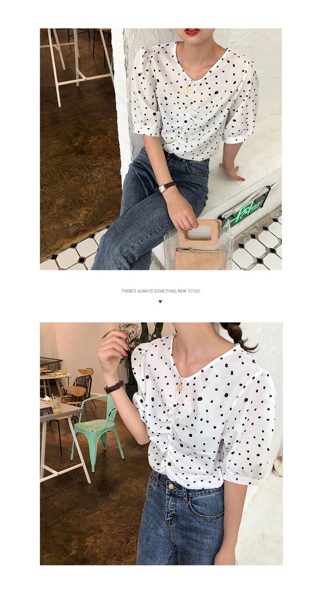 Unique U-neck dot short sleeve blouse