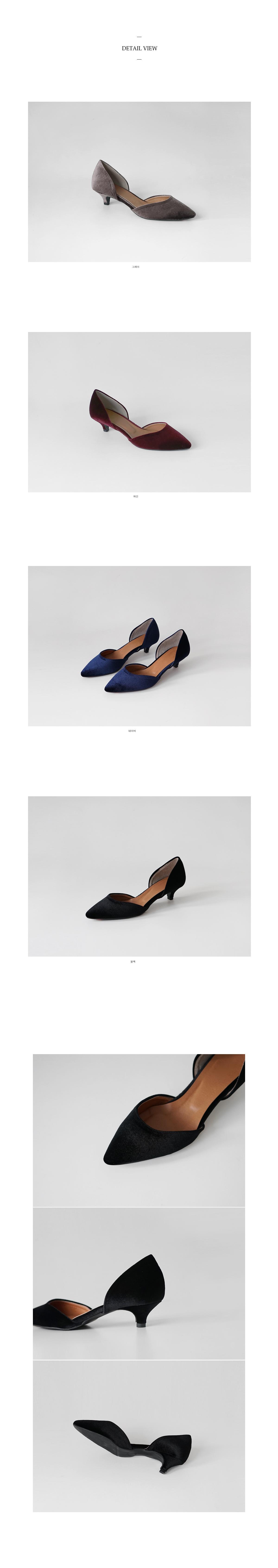velvet stiletto low heels(4colors)