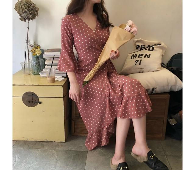 Dot Wrap Chiffon Summer Dress