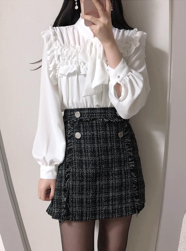 Double tweed skirt pants