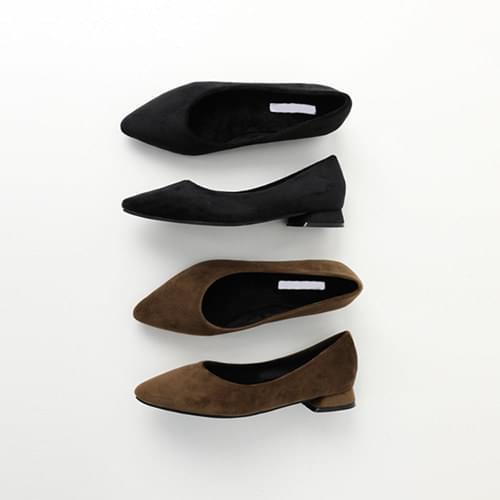 Pin velvet flat shoes
