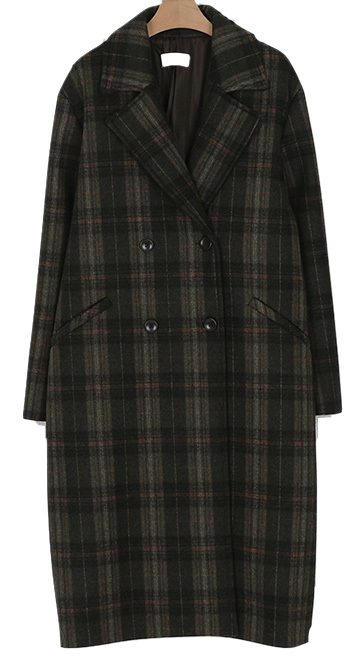 wool check double coat