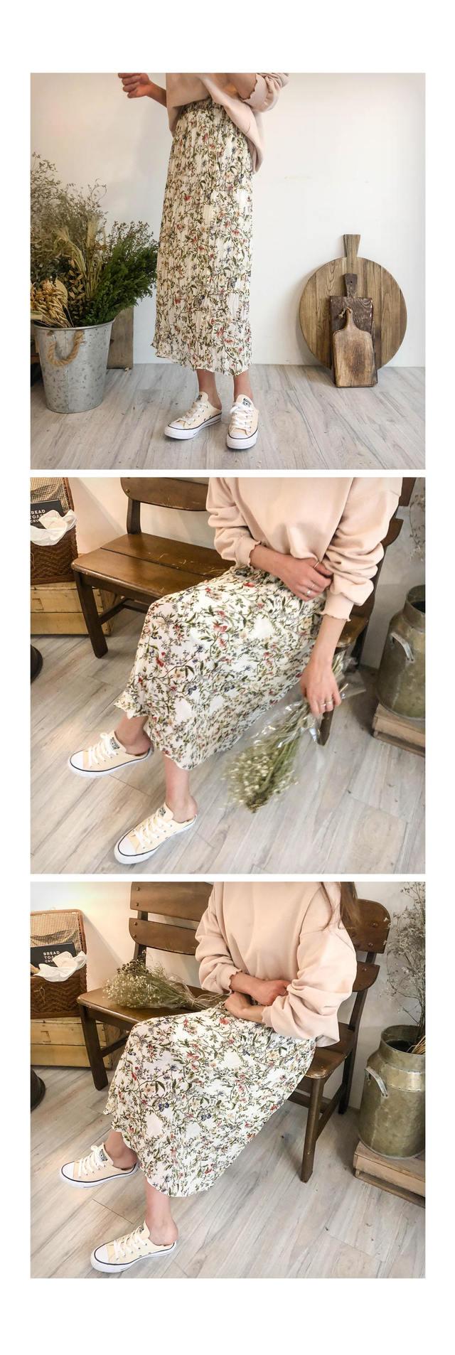Chiffon flower long skirt