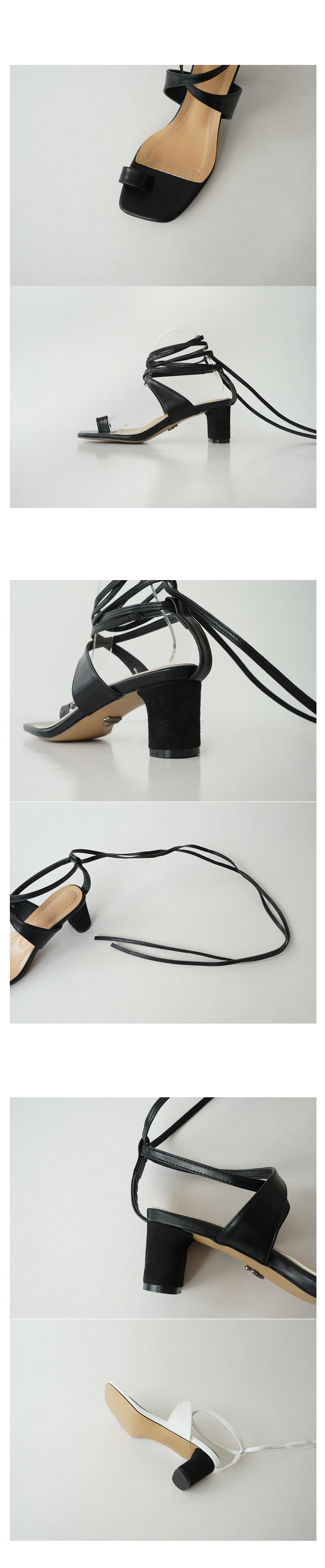 square toe open strap middle heels (2colors)