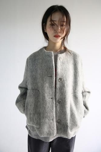 alphaca texture round jacket