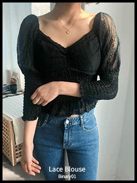 See-through clan lace blouse