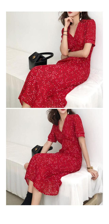 Chiffon Arlen LongLab Dress | 2COLOR Eye Red Black Jewelry