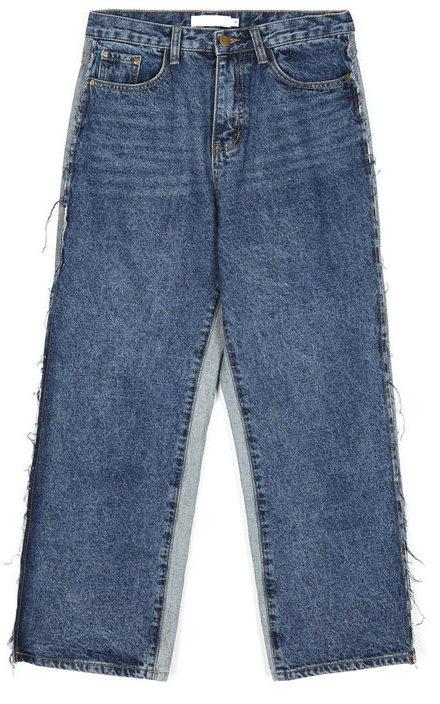 reverse denim wide pants