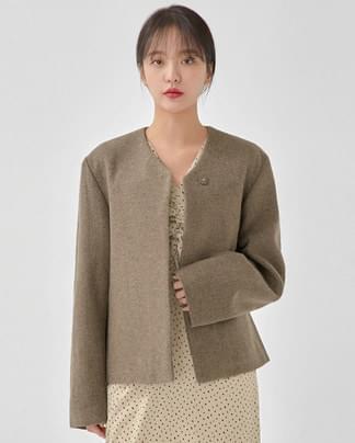 take no-collar wool jacket