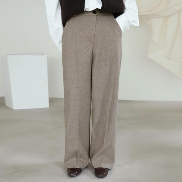 Wool 40 Unbalanced Button Slacks