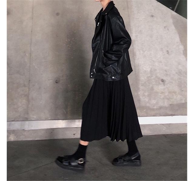 Black Pleated Long Skirt