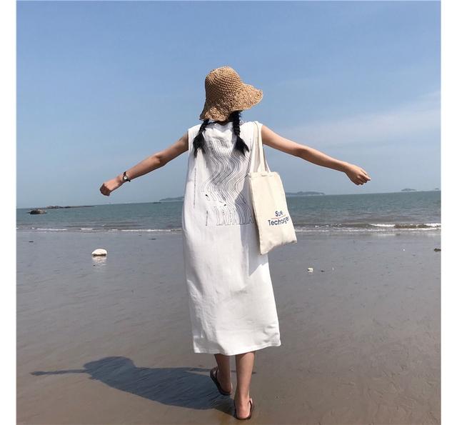 strongest sleeveless cotton long dress