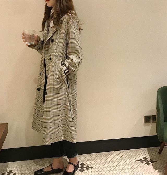 Double check ribbon trench coat