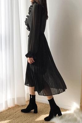 Pleated dot dress