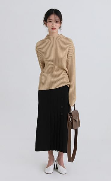 button pleats banding skirt