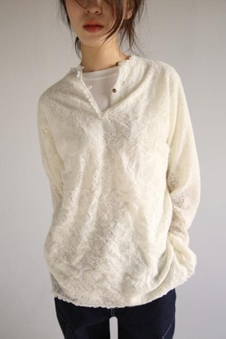 lace fluffy blouse knit