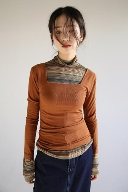 square-neck ribbed top