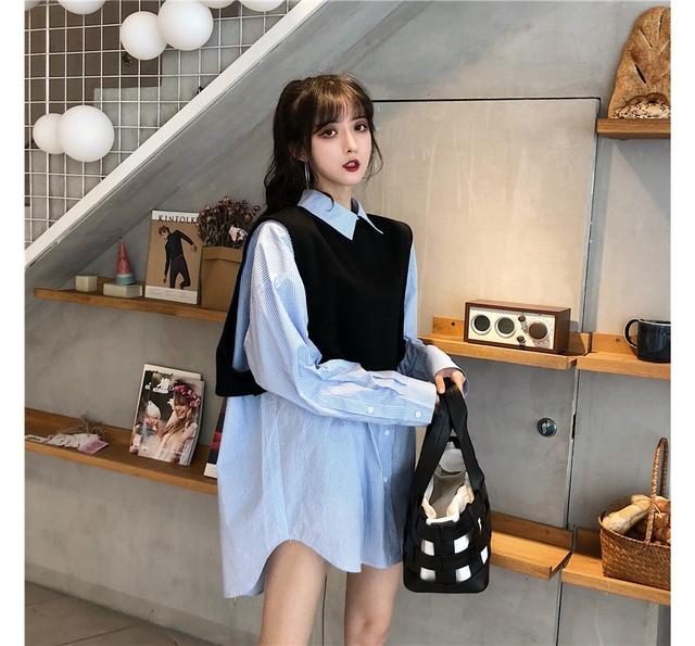 Striped shirt black vest set