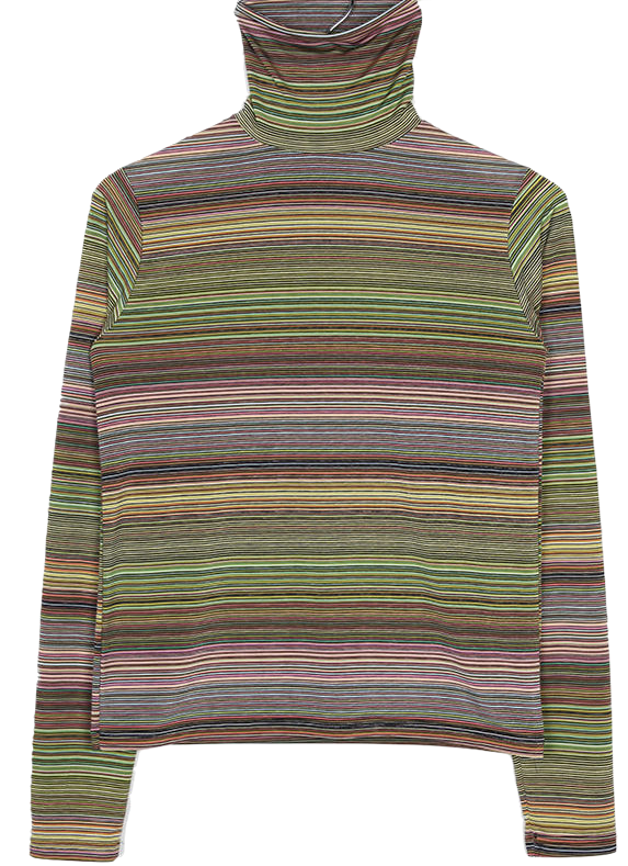 rainbow stripe high-neck top (2colors)