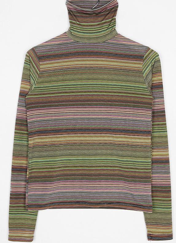 rainbow stripe high-neck top
