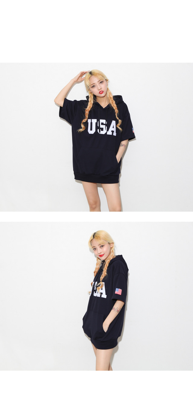 Big USA Short Sleeve Hood