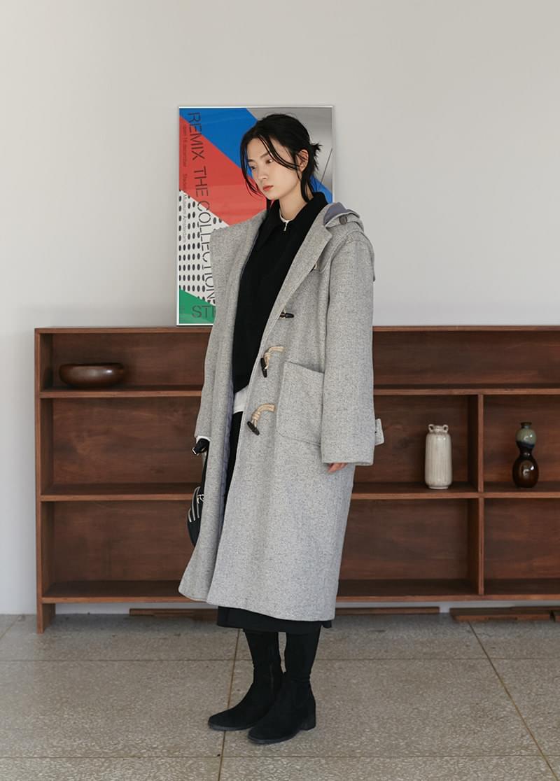 Herringbone duffel coat