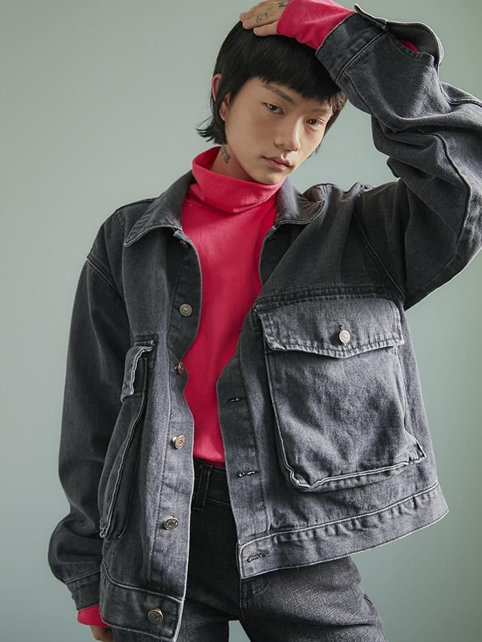 cargo pocket denim jacket - UNISEX