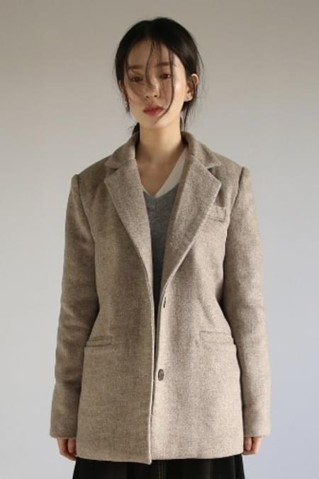 herringbone single beige jacket