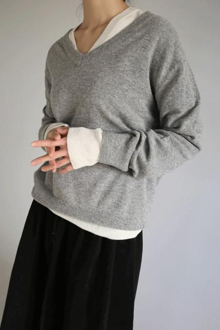 v-neck basic wool knit