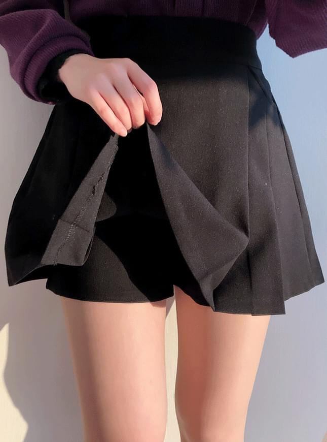 ♥ Pocket Half Pleated Skirt Pants