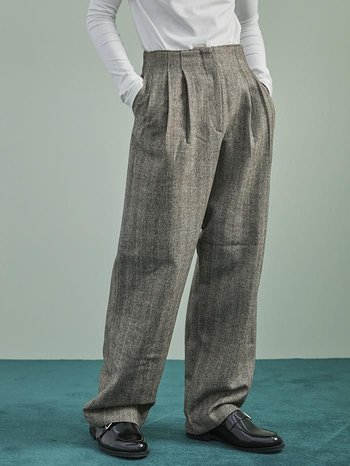 herringbone wide pintuck pants