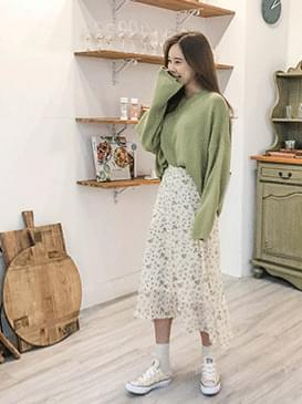 Chiffon flower long skirt