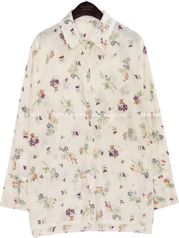 REDIA FLOWER SEETHROUGH BLOUSE