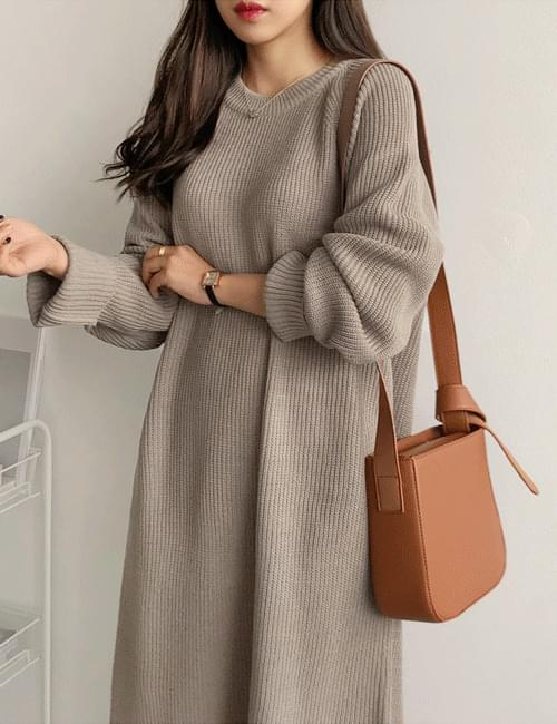 Day Round Knit Long Dress
