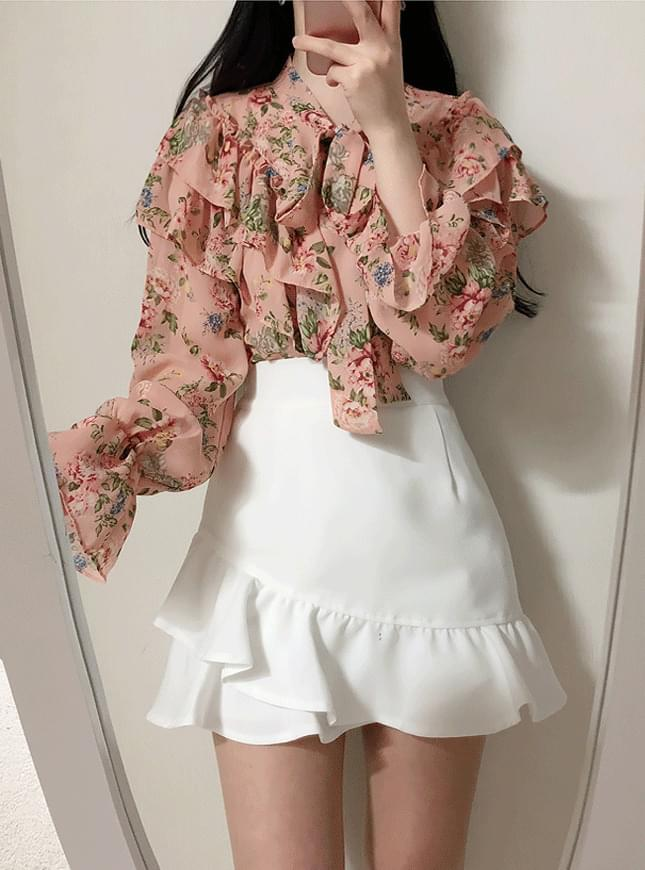 ♥ Diary flower ruffle blouse