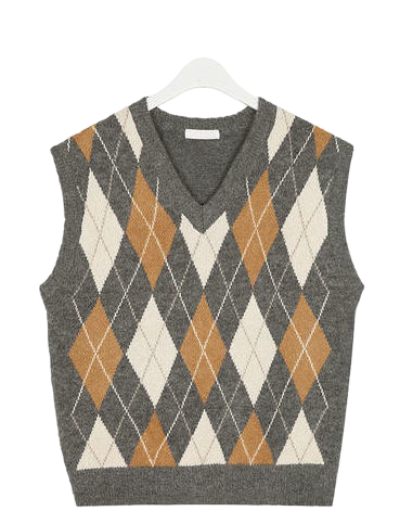 in v-neck argyle wool vest