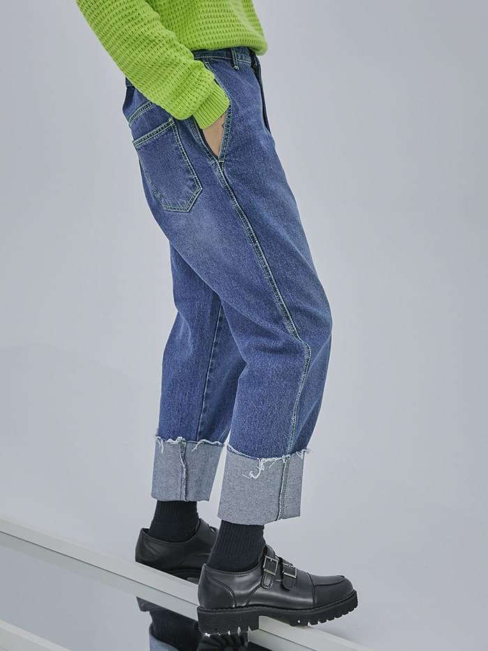 neon stitch denim pants - UNISEX