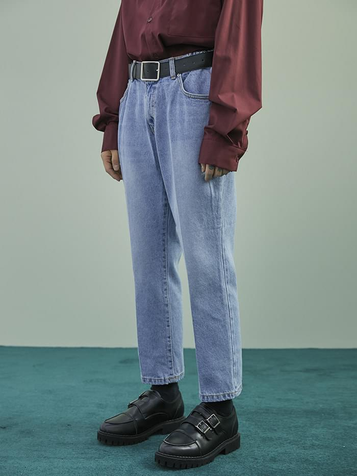 banding crop denim pants - UNISEX