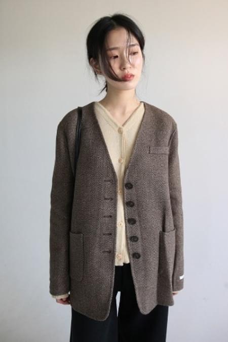 non collar herringbone hm jacket