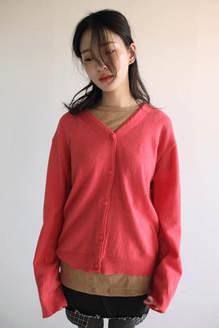 basic color v-neck cardigan