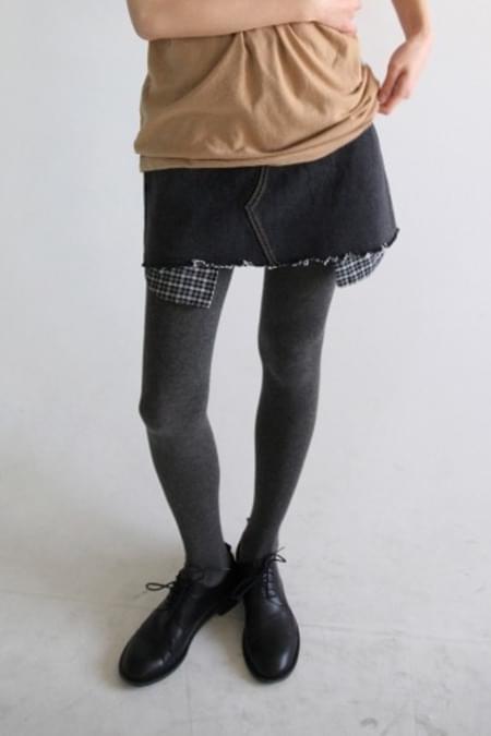 check pocket mini denim skirt