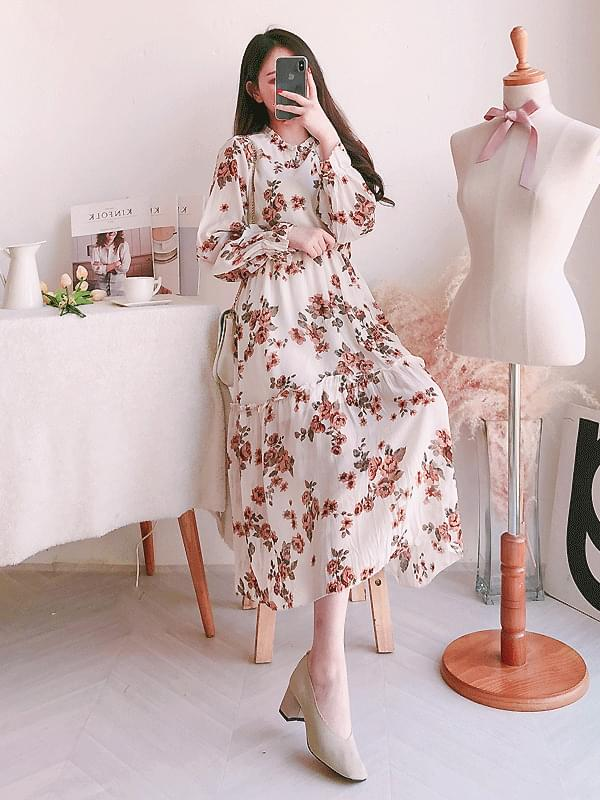 Springtime chrysanthemum long dress