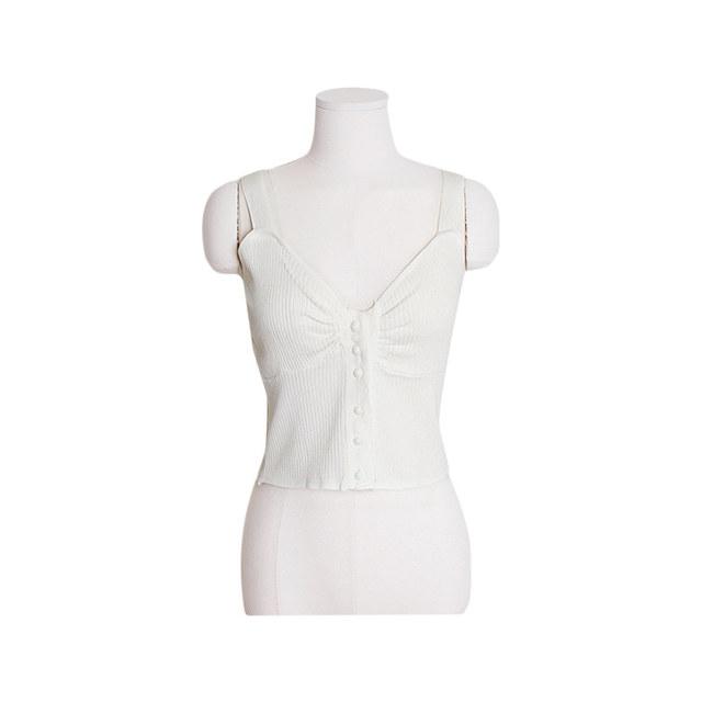 Volume Pearl Shirring Sleeveless Bra [Nashi / Corrugated / Layered / Festival]
