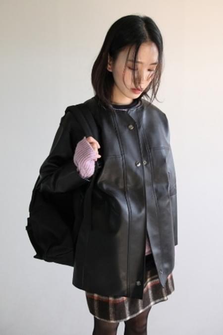 non-collar leather jacket (black)