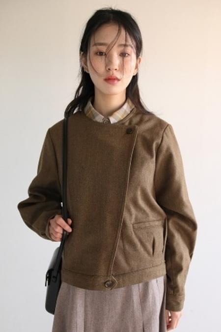 herringbone diagonal jacket (brown)