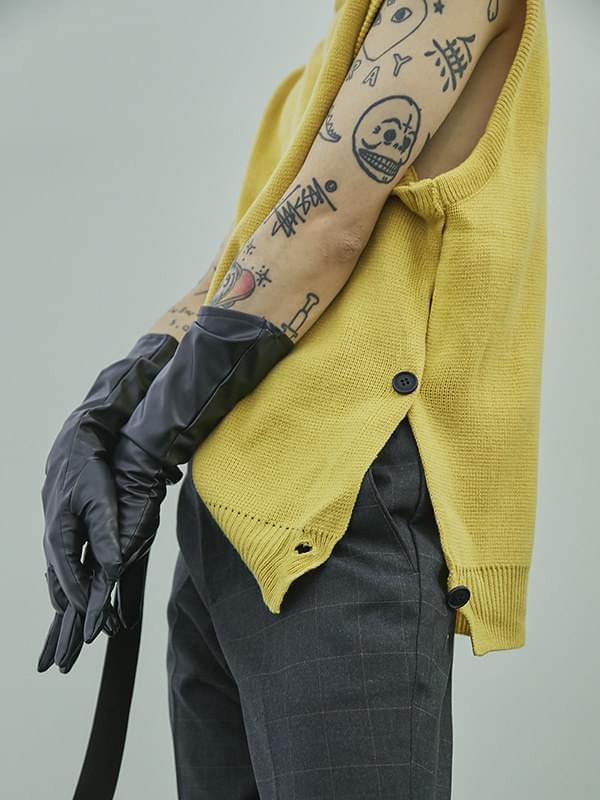 side button knit vest - UNISEX
