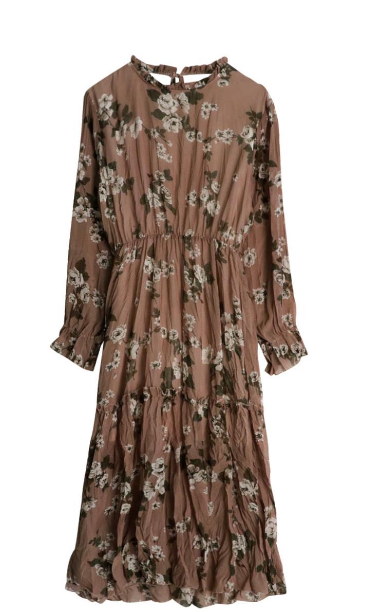 Springtime chrysanthemum long dress