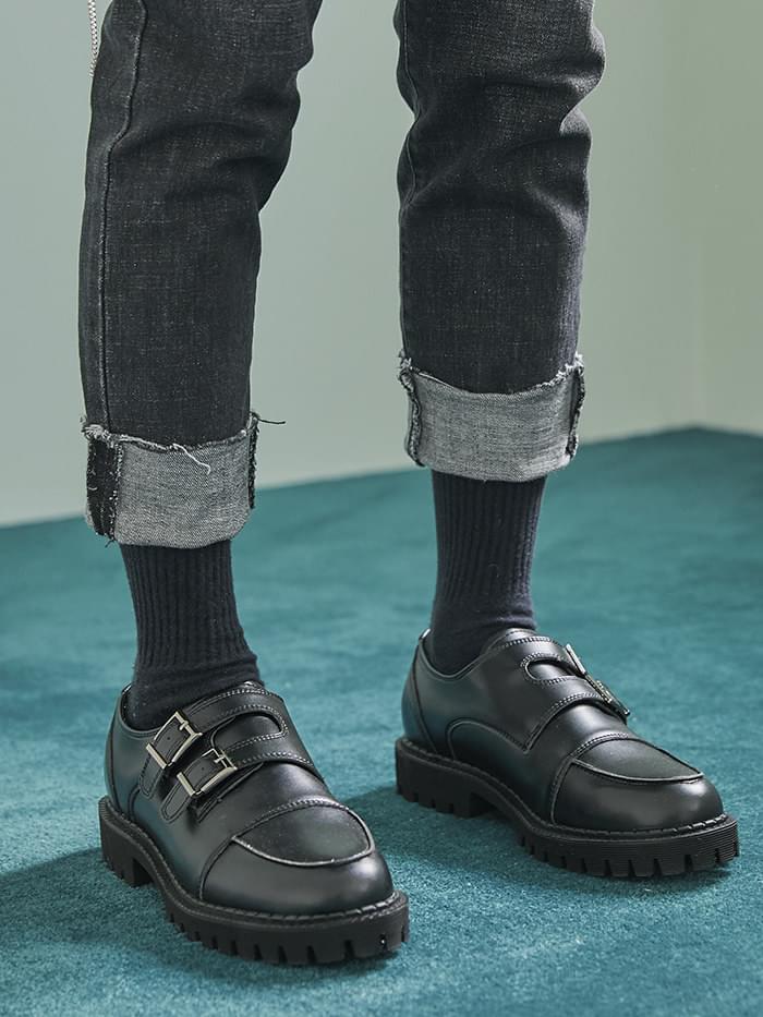 cow hide buckle strap shoes - men