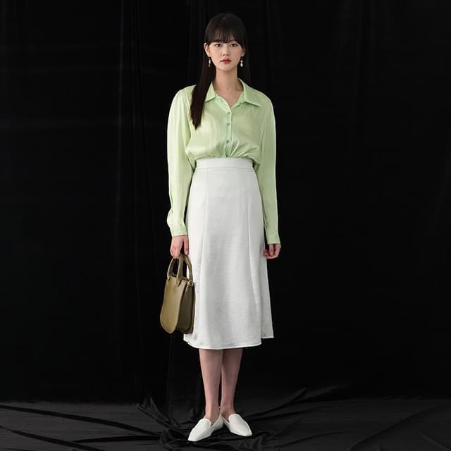 back banding satin skirt 裙子